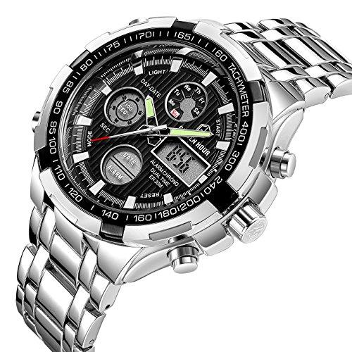 Luxus-Full-Stahl-Analog-Digital-Uhren-fr-Herren-Outdoor-LED-Stecker-silber-schwarz-Sport-Military-Armbanduhr