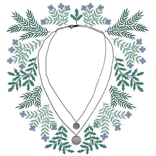 Happiness Boutique Damen Mehrreihige Kette mit Kreis Anhängern in Silberfarbe | 2 Reihige Kette Runde Plättchen Anhänger