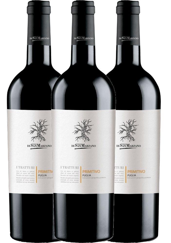 3er-Paket-I-Tratturi-Primitivo-Puglia-IGT-2018-Cantine-San-Marzano-trockener-Rotwein-italienischer-Wein-aus-Apulien-3-x-075-Liter