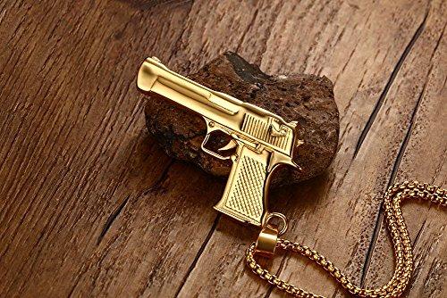 Vnox Edelstahl Pistole Pistole Pistole Anhänger Halskette für Männer Frauen Gold,freie Kette