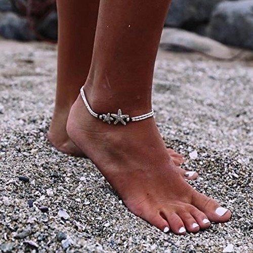 Feelontop® 1pc Boho Chic Seestern Silber Oval Perlen einstellbare Fußkettchen Frauen barfuß mit Schmuck-Etui