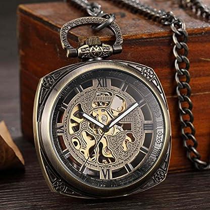 gorben-Bronze-quadratisch-Mechanische-Taschenuhr-Herren-Retro-skleleton-Steampunk-Hand-Aufziehen-Schlsselanhnger-Uhren-mit-Kette-Box