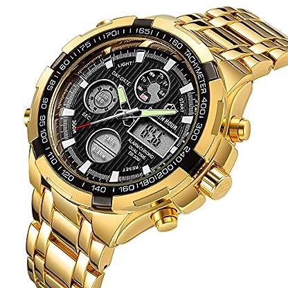 Luxus-Fashion-Herren-Uhren-Gold-Edelstahl-Schwere-Sport-Chronograph-Wasserdicht-Datum-Alarm-Multifunktions-Analog-Digital-Armbanduhr
