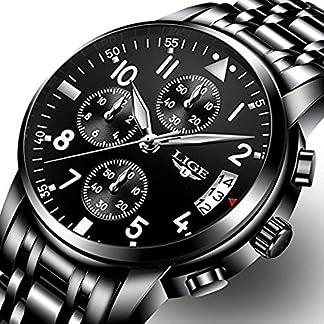 Uhren-Herren-Schwarz-Armbanduhr-Sports-chronograph-wasserdicht-Uhr-mit-Luxus-Casual-Edelstahl-Quarz-Armbanduhr