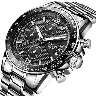 Herrenuhr-LIGE-Edelstahl-Schwarz-Klassische-Business-Watch-Analog-Quarzuhr-Wasserdichte-Sport-Chronograph-Kleid-Herrenuhr
