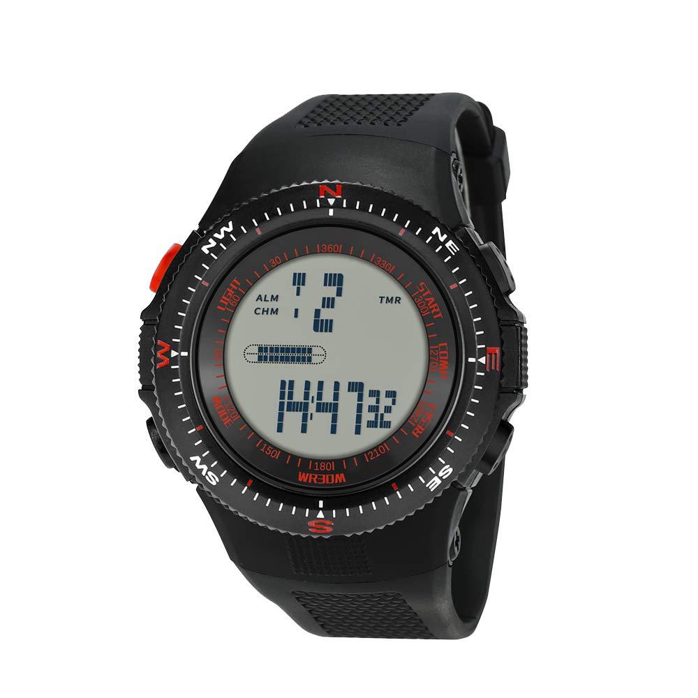 Souarts-Damen-Armbanduhr-Digital-Display-Sport-Uhr-LED-Kalender-Stoppuhr-Wasserdichte-Armbanduhr-Schwarz-253cm