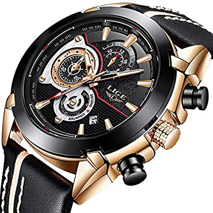 Herren-Uhren-Mode-Lederband-Analog-Quarz-Wasserdicht-Uhr-Lssige-Uhren-Mnner-Chronograph-Militrische-Sportuhr-LIGE-Gent-Klassisch-Luxus-Datum-Kalender-Schwarzes-Zifferblatt-Armbanduhr-