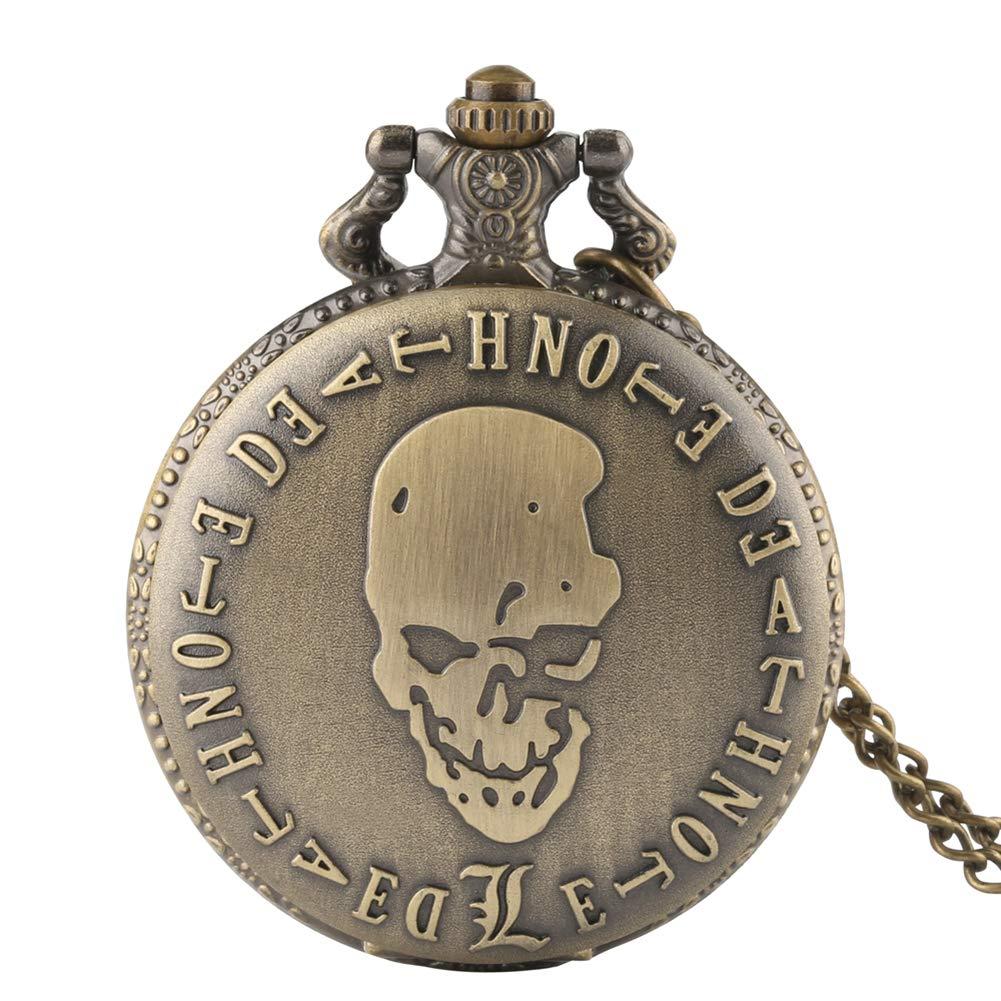 Herren-Taschenuhr-Motiv-Death-Note-Bronze-Quarz-Taschenuhr-Mnner
