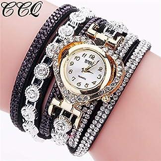 Godagoda-Damen-Armbanduhr-Creative-Glitzer-Strass-Deko-Design-Mehrschichtig-PU-Leder-Armband-Quarzuhr-Armreif-fr-Mdchen