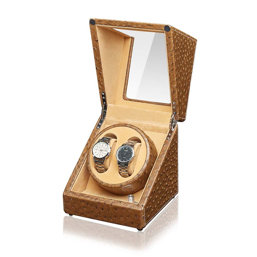 Sepano-Automatischer-Uhrenbeweger-fr-2-Uhren-SchwarzKaffeeKahki-5-Modi-aus-PU-Leder-in-Design-Straumustern-Auto-Randfaden