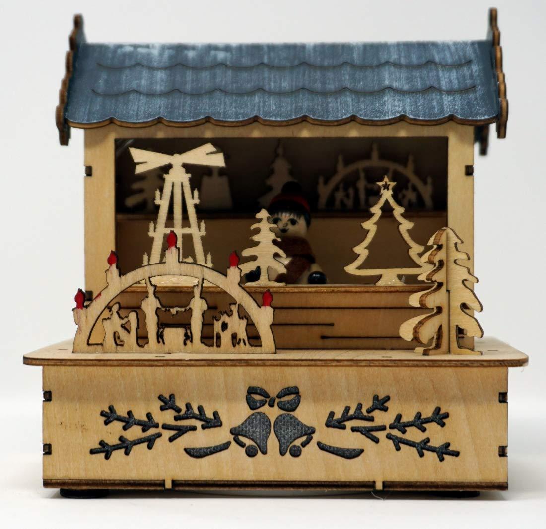 CBK-MS-Holzsilhouette-naturfarben-Weihnachtsmarkt-Htte-mit-naturfarbem-Dach-LED-Beleuchtung-Weihnachtsdorf-Weihnachtsdekoration
