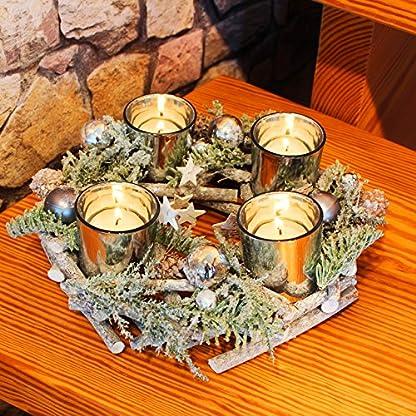 Kamaca-Adventskranz-aus-massiven-Holzzweigen-mit-Deko-wie-Tannenzweigen-und-Glas-Kerzenhaltern-inklusive-4-LED-Teelichter-Advent-Weihnachten