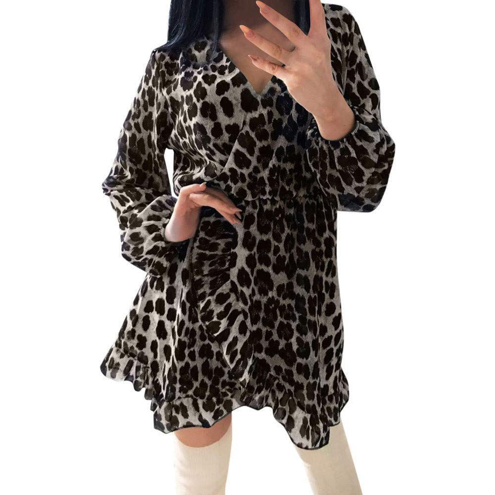 Zarupeng-Damen-Langarm-V-Ausschnitt-Cocktailkleid-Leopardenmuster-Laterne-rmel-Kleid-Minikleid-Rschensaum-Skater-Party-Kleider
