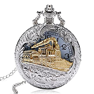 HARRY-POTTER-Hogwarts-Express-Taschenuhr-mit-Halskette-silberfarben