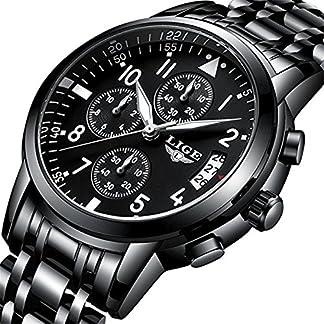 Herren-Edelstahl-Handgelenk-Uhren-Herren-wasserdicht-Analog-Quarz-Uhr-Business-Schwarz-Uhren