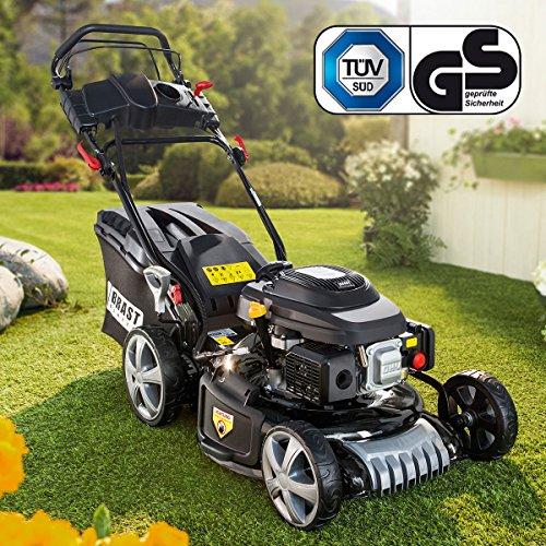 BRAST-Benzin-Rasenmher-294kW-4PS-Elektrostart-Selbstantrieb-46cm-Schnittbreite-30-80mm-Schnitthhe-60L-Grasfang-Korb-GT-Markengetriebe-Easy-Clean-Big-Wheeler-Stahlblechgehuse-Benzin-Mher-Trimmer