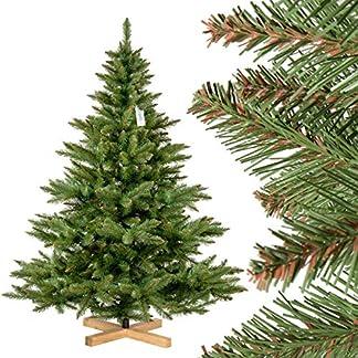 FairyTrees-knstlicher-Weihnachtsbaum-NORDMANNTANNE-grner-Stamm-Material-PVC-inkl-Holzstnder-FT14-FT15