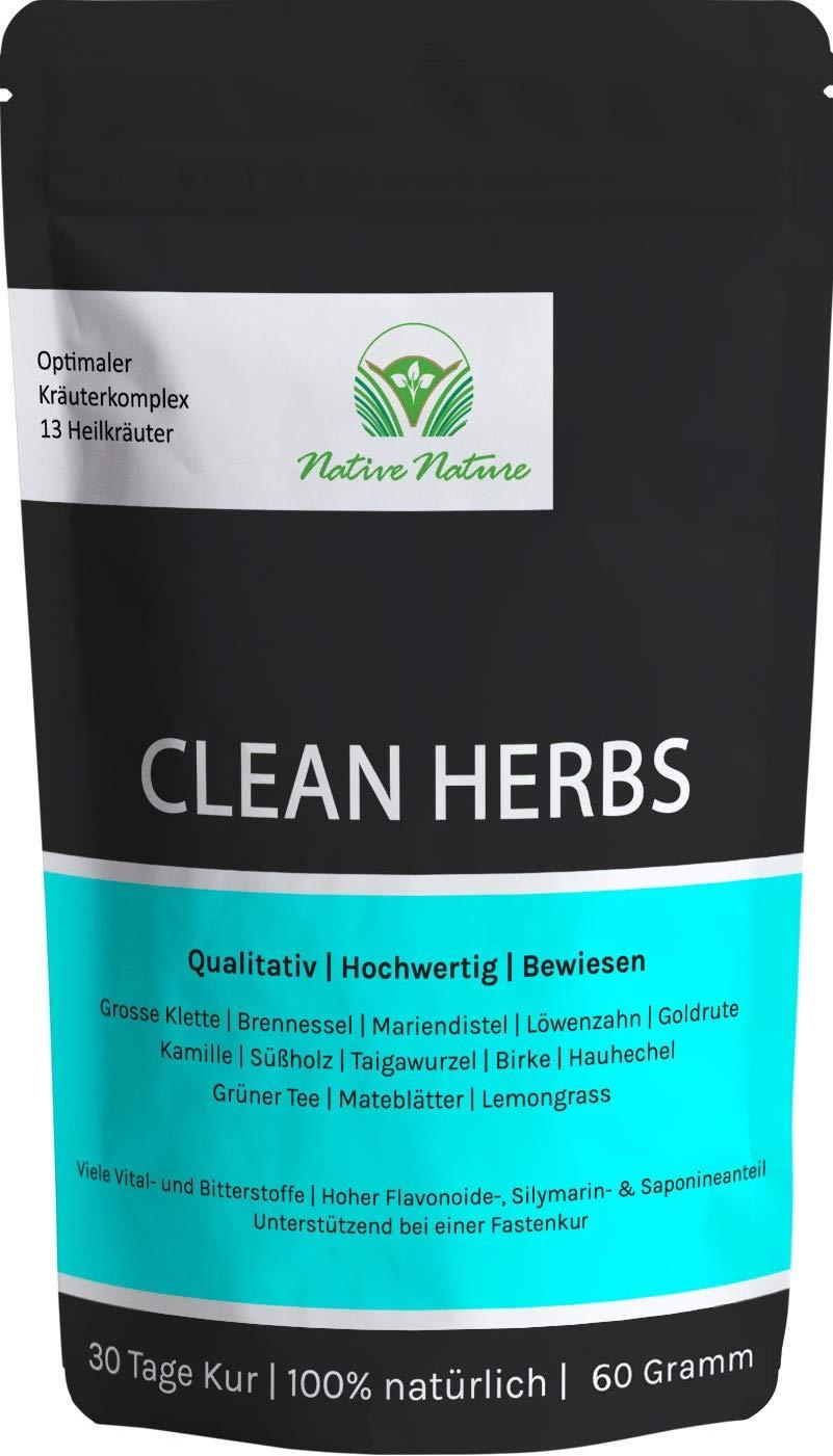 CLEAN-HERBS-Einzigartige-Mischung-aus-Lwenzahn-Mariendistel-Brennnessel-Klettenwurzel-Goldrute-Birke-Taigawurzel-Grner-Tee-Mate-Tee-uvm-100-natrlich