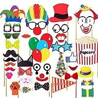 BESTOYARD-Karneval-Zirkus-Photo-Booth-Requisiten-Karneval-Party-Geflligkeiten-Accessoires-zum-Geburtstag-36-Pcs