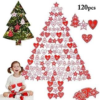 ZOYLINK-120PCS-Christbaumschmuck-Weihnachtsbaum-Anhnger-Holz-Dekorative-Weihnachtsbaum-Herzform-Sterne-Tannenbaumanhnger-Weihnachtsdeko