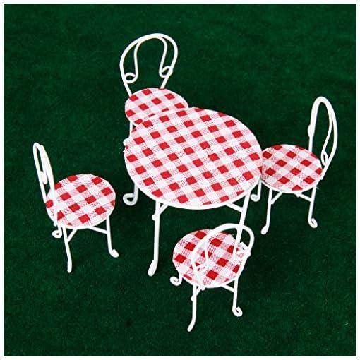 112-Puppenhaus-Miniatur-Metalldraht-Rund-Tisch-mit-4-Sthle-Garten-Mbel-Wei