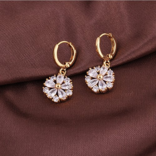 Yazilind Schmuck Charming Flower Design Gold Filled Inlay Glänzende Clear Crystal baumeln Ohrringe für Frauen