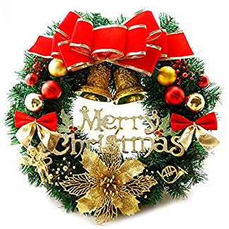AcserGery-Weihnachtskranz-mit-Kugel-Schleife-Weihnachten-Dekor