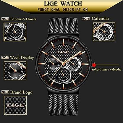 Herren-UhrenLIGE-Edelstahl-Wasserdicht-Sport-Analog-Quarzuhr-Datum-Kalender-Business-Casual-Luxus-Kleid-Armbanduhr-Uhr-mit-Milanese-Mesh-Band-Gold-Schwarz