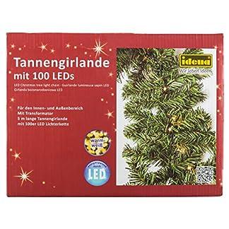 Idena-31814-LED-Tannengirlande-mit-100-LED-warm-wei-mit-8-Stunden-Timer-Funktion-fr-Advent-Weihnachten-Deko-als-Stimmungslicht-ca-25-cm-x-5-m