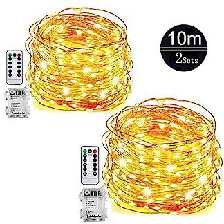 2-Pack-10M-LED-Lichterkette-Sinicyder-100er-LED-Batterie-Kupferdraht-Lichterketten-8-Modi-Timer-Fernbedienung-und-IP65-Wasserdicht-fr-Garten-Party-Hochzeit-Weihnacht-und-Deko-Warmwei