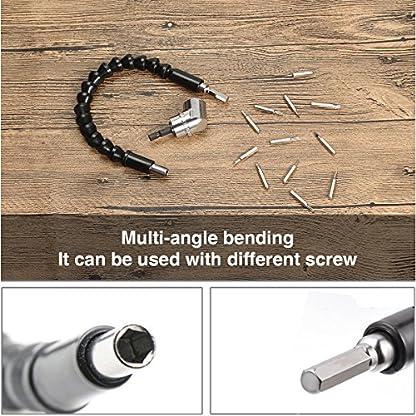 Estmoon-Flexible-Schaft-Bits-Bohrer-Verlngerung-und-105-Winkelschrauber-Vorsatz-Adapter-mit-14-Zoll-Schnellwechsel-und-Magnetischen-Bit-Halter