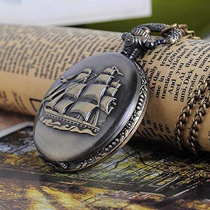 Souarts-Antik-Nostalgie-Design-Taschenuhr-mit-Gravur-Batterie-Bronze-Segelboot