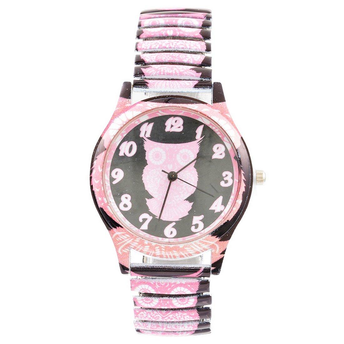 Souarts-Damen-Schwarz-Federkraft-Quartzuhr-Eule-Analog-Armreif-Uhr-mit-Batterie-Edelstahl-Armband-Armbanduhr