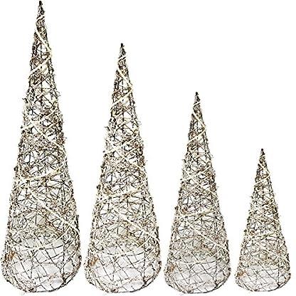 Mojawo-4er-Set-Weidenkegel-Leuchtkegel-Weihnachten-Natur-H406080100cm-Beleuchtung-Dekoration