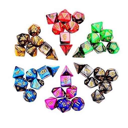 iFergoo-42-Stck-Polyedrische-Wrfel-Doppel-Farben-Polyedrischen-Spielwrfel-fr-RPG-Dungeons-und-Dragons-Pathfinder-6-Set-von-d20-d12-2-d10-00-90-und-0-9-d8-d6-und-d4