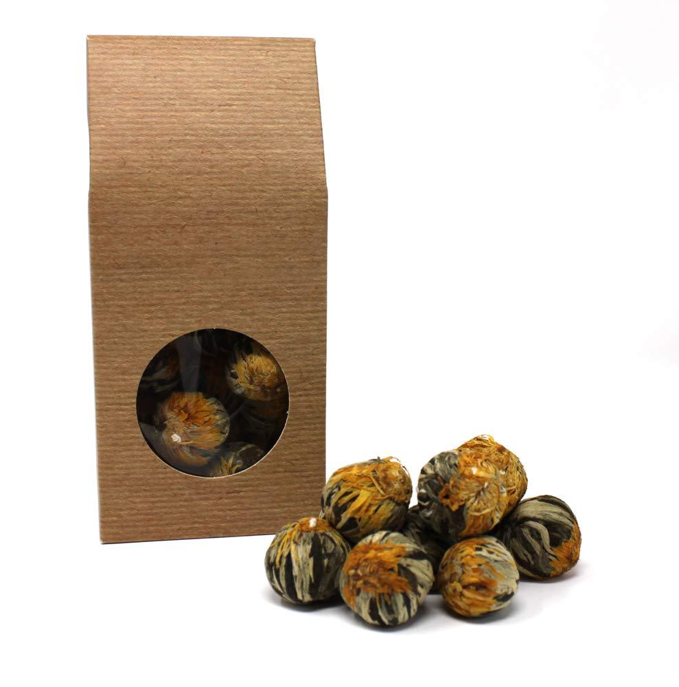 10-x-Teeblume-Teerose-White-Fortune-Balls-Weier-Tee-und-Ringelblumenblten