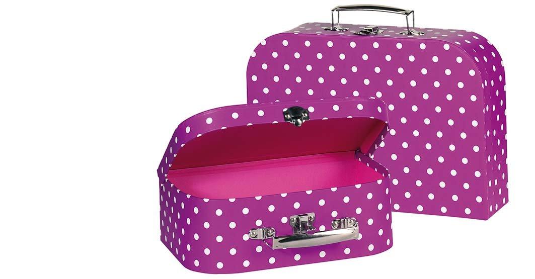 Goki-60106-Puppenzubehr-Koffer-lila-mit-weien-Punkten