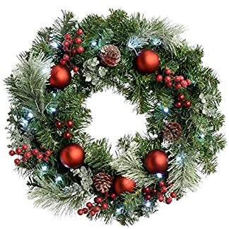 WeRChristmas-beleuchtete-Weihnachtsdekoration-mit-20-matten-kalt-weien-LED-Lichtern-60-cm