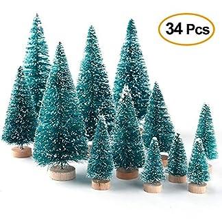 Trooki-Weihnachten-Mini-Kiefern-gefrostet-Sisal-Bume-mit-Holzbasis-Flasche-Pinsel-Bume-Set-Tischbume-DIY-Handwerk-24st