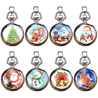 JSDDE-Weihnachtsuhr-Weihnachtsmann-Weihnachtsbaum-Weihnachts-Schneemann-Taschenuhr-Umhngeuhr-Kettenuhr-Quarz-Uhren-Set