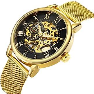 affute-Mechanische-Uhren-CLASSIC-Herren-Skelett-vergoldet-Mesh-Edelstahl-Gurt-Automatische-Armbanduhr-aufziehbar