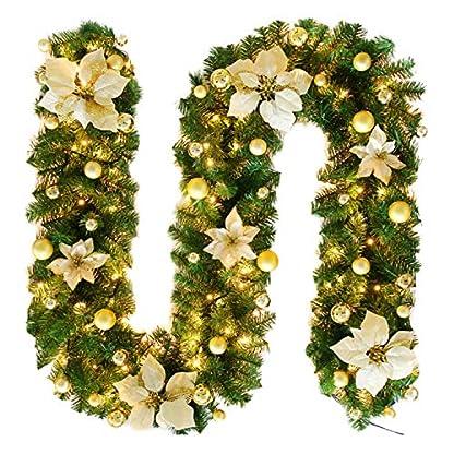 LAEMILIA-Weihnachtskranz-LED-Kranz-Herbstdeko-Weihnachtsdeko-Tannengirlande-Weihnachtsgirlande-Knstlich-Festlich-Ornamente-Trdeko-Tannenkranz-25270cm