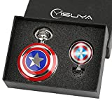 Marvel-Avengers-Captain-America-Shield-Taschenuhr-fr-Jungen-Herren-Geschenk-Set-Cool-3D-Captain-America-Shield-Schlsselanhnger-Uhren-mit-GLAS-Dome-Anhnger-Halskette