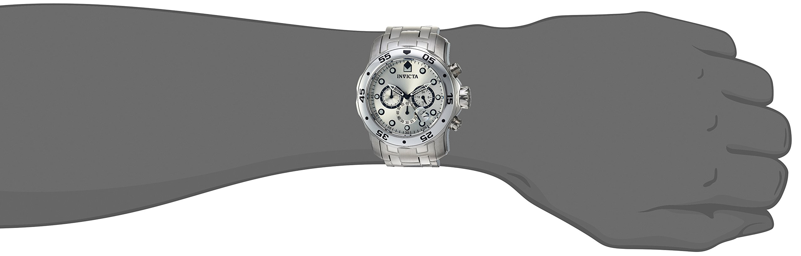 Invicta-0071-Pro-Diver-Scuba-Herren-Uhr-Edelstahl-Quarz-silbernen-Zifferblat