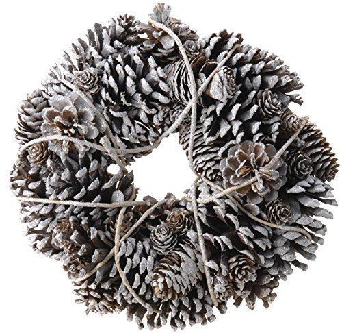CHICCIE-Verschneiter-Zapfenkranz-Tannenzapfen-Kranz-33cm-Weihnachten-Deko-Dekokranz-Adventskranz-Trkranz