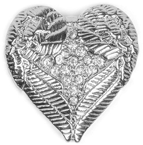 styleBREAKER Magnet Schmuck Anhänger Herz Flügel Design mit Strass für Kleidung, Schals, Tücher oder Ponchos, Brosche, Damen 05050044