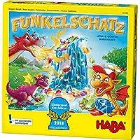 Haba-303402-Funkelschatz-Brettspiel-lustiges-Mitbringspiel-fr-2-4-Spieler-ab-5-Jahren-mit-90-Funkelsteinen-und-9-Ringen-in-Eis-Optik-schnes-Geschenk-zum-Geburtstag