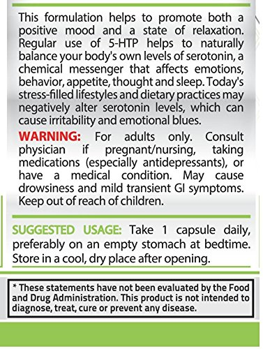 Pure Nutrition 5-HTP 100 mg Hochdosiert 100 Vegan Kapseln|5 Hydroxytryptophan Griffonia Simplicifolia 5 HTP|Verbessert Schlaf Reduziert Stress Aktiviert Serotonin|Ohne Magnesiumstearat|Made in USA