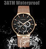 Herren-UhrenLIGE-Edelstahl-Wasserdicht-Sport-Analog-Quarzuhr-Schwarz-Zifferblatt-Datum-Mode-Casual-Luxus-Kleid-Armbanduhren-mit-Milanese-Mesh-Armband-Rose-Gold-Schwarz