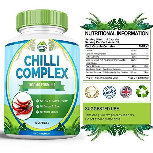 Chilli Burn Komplex, Starker Fatburner für Männer & Frauen zum Abnehmen, Capsaicin zur Förderung des Stoffwechsels, Natürliches Nahrungsergänzungsmittel zur Gewichtsabnahme – 90 Kapseln